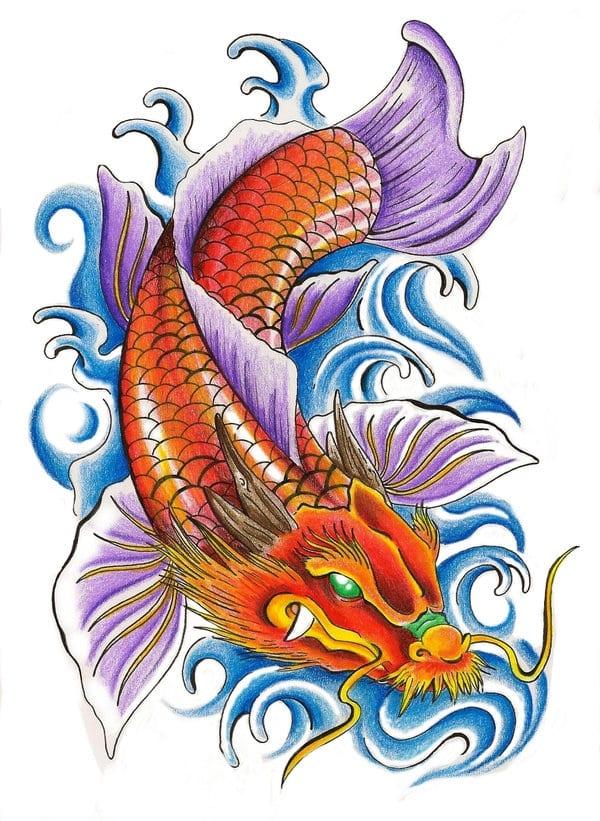 """Tranh minh họa truyền thuyết """"cá chép hóa rồng"""""""