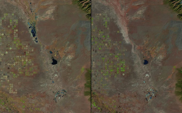 Beginning in the 1980s, NASA also documented shrinking lakes across the globe, starting with this photo of Great Sand Dunes National Park in Colorado in 1987 (left). The same park is shown in 2011 (right).