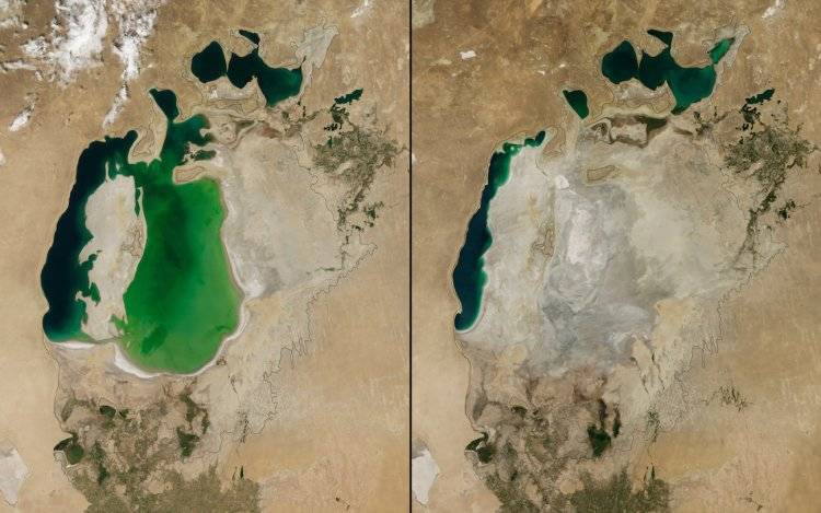 The Aral Sea in Central Asia shrunk drastically between 2000 (left) and 2014 (right).
