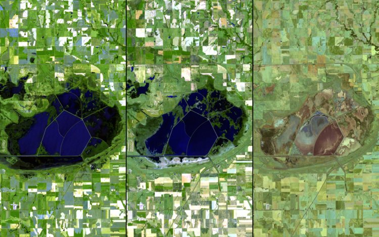 Droughts have affected the US intensely over the past few years as well. Here are three images of water drying up in Kansas, taken in 2010 (left), 2011 (middle), and 2012 (right).