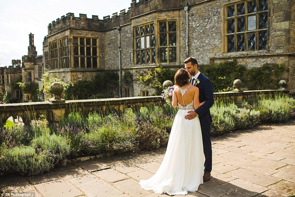 The terraced gardens at Haddon Hall, where Ed and Heidi are pictured after their wedding, are one of the jewels of the historic house, which sits right in the heart of the Derbyshire Peak District