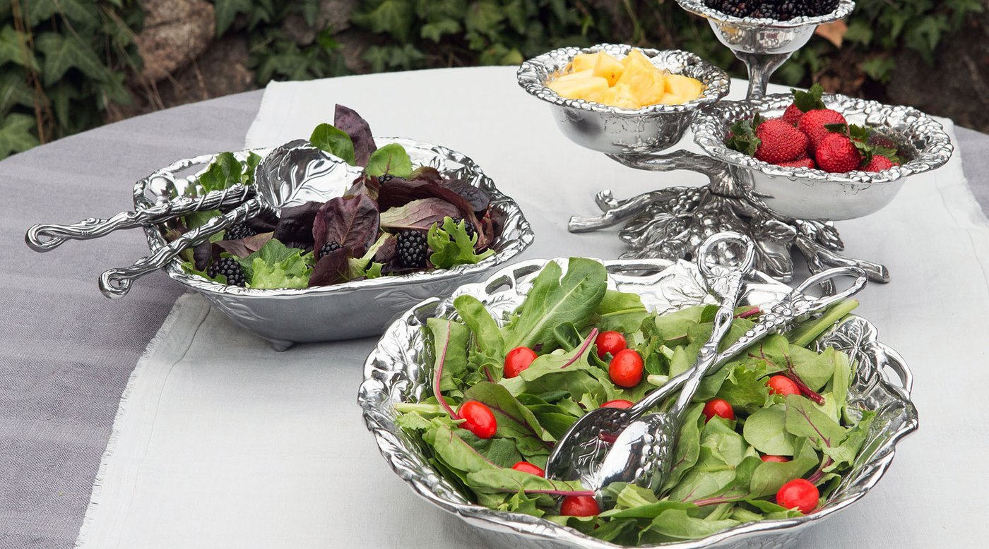 Image result for salad dishes with silver intensil
