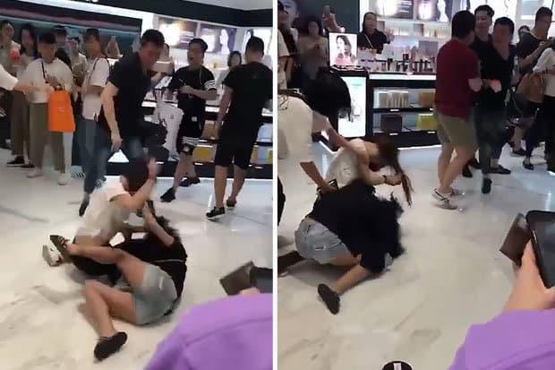 Hai nữ du khách TQ đánh nhau trước cửa hàng mỹ phẩm Hàn Quốc