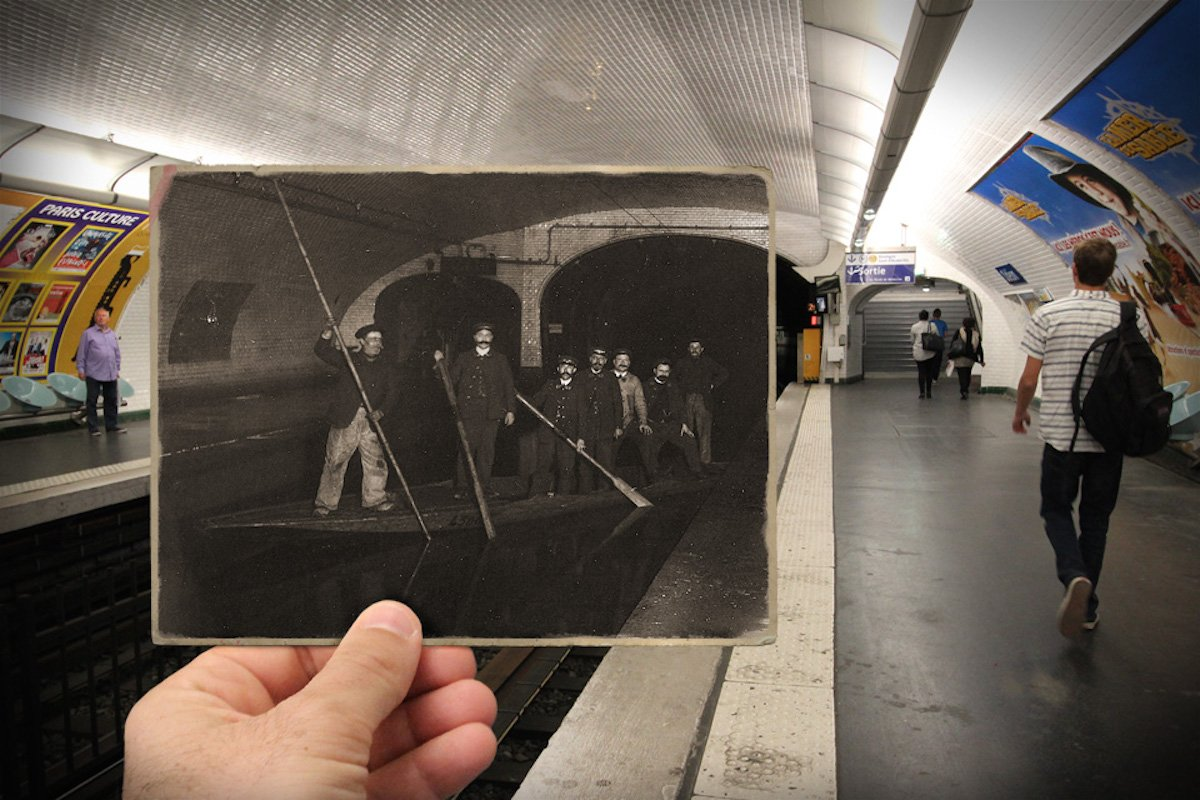 During the great flood, people got through the water-filled metro tracks by boat — Métro Odéon, 1910
