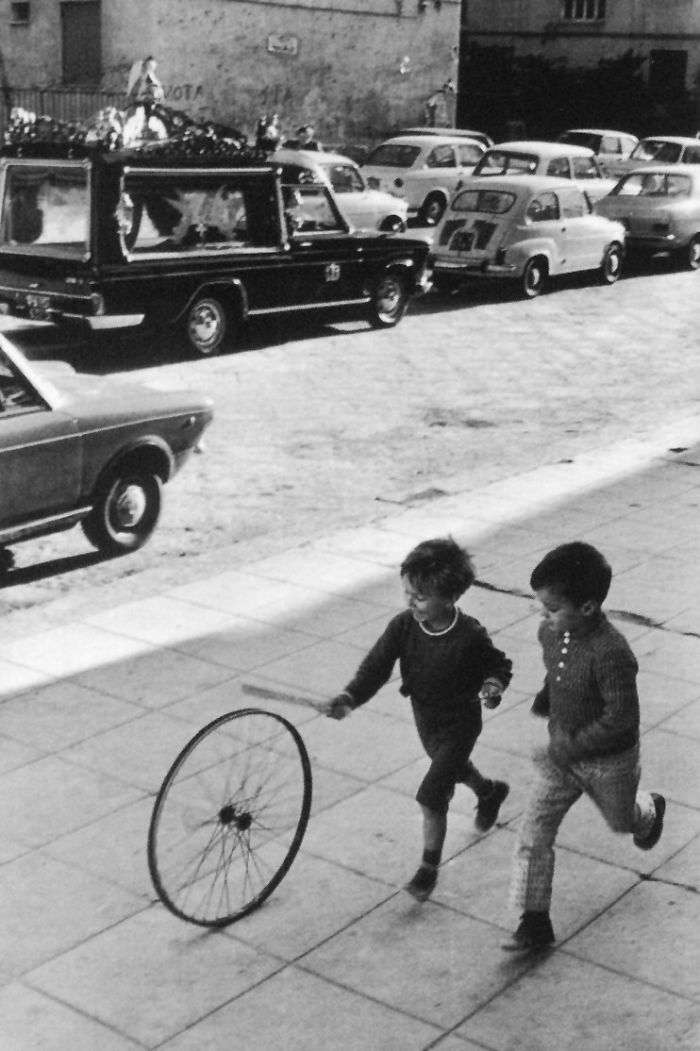 Children Playing With A Bike Wheel, Palermo, 1971