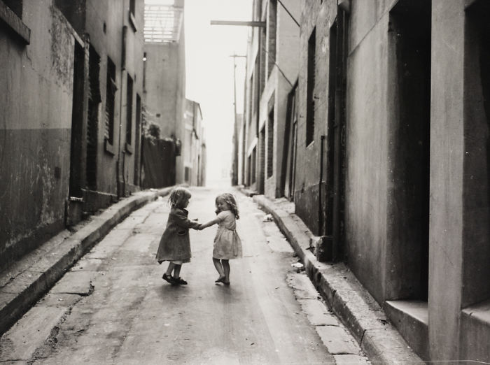 Two Girls Playing In Sydney Slums, Mainly Surry Hills, Woolloomooloo, Redfern, 1949
