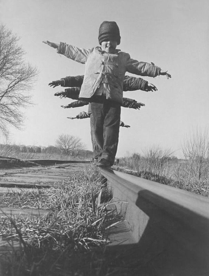 Children Balance On Rail In South Dakota, 1959