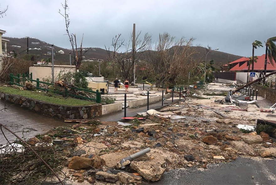 Damaged Street Of Gustavia On Saint-barthelemy In The Caribbean