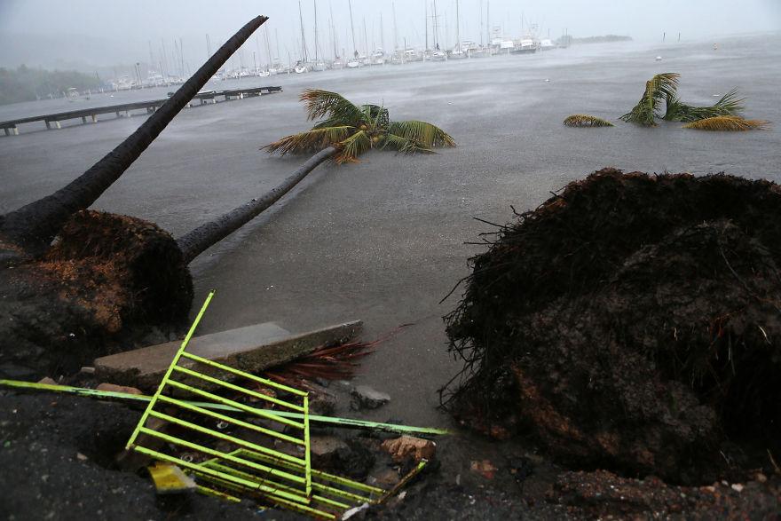 Debris Is Seen During A Storm Surge Near The Puerto Chico Harbor In Fajardo, Puerto Rico