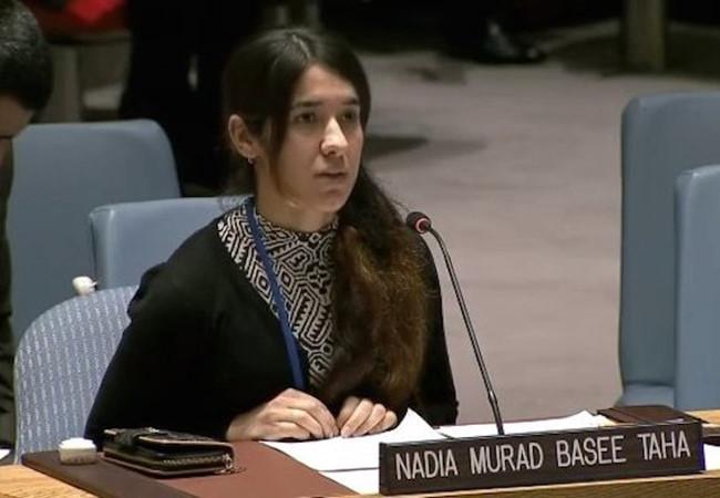 Nadia Murad Basee Taha tại một cuộc họp của Hội đồng Bảo an về nạn buôn bán người trong hoàn cảnh xung đột. (Ảnh: Liên Hợp Quốc)