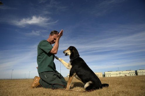 Colorado prison inmate Christopher Vogt trains a dog to live with disabled people and children with autism. In this photo, he is imitating a child having an emotional episode.
