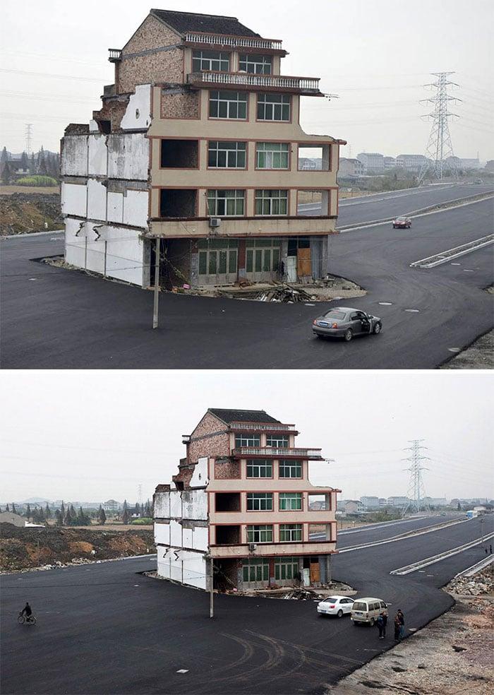Cảnh tượng thú vị của 20+ căn nhà khi chủ nhân kiên quyết không chịu di dời