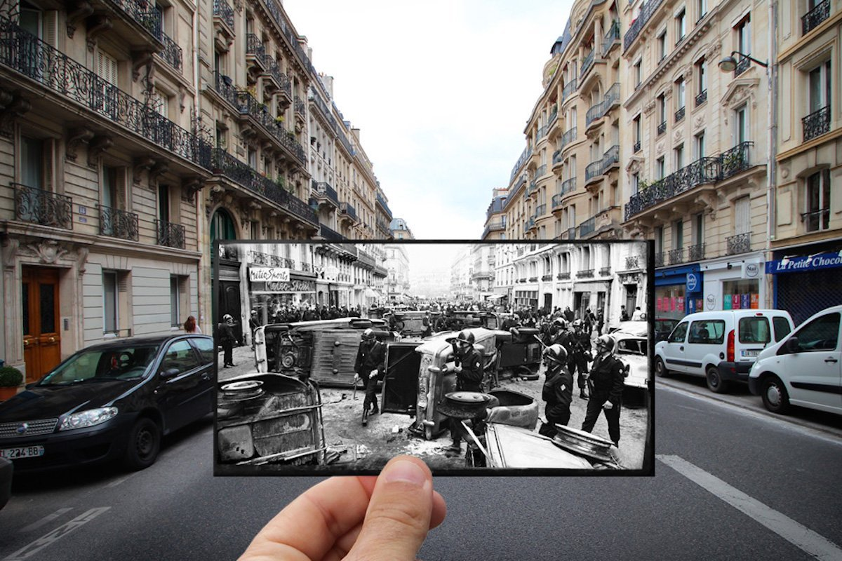 Student protests saw cars overturned and set on fire in the Latin Quarter —Rue Gay-Lussac, May 1968