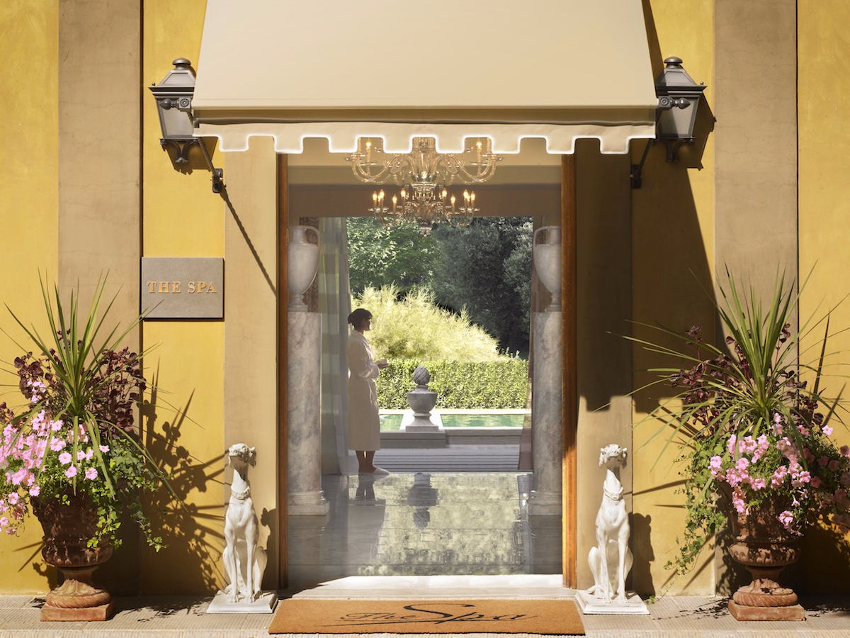 The Four Seasons Hotel Firenze holds five-star status thanks to its private bars, spa, exquisite rooms, and high-quality customer service — which includes babysitting and exclusive facilities for anyone visiting Florence on business.