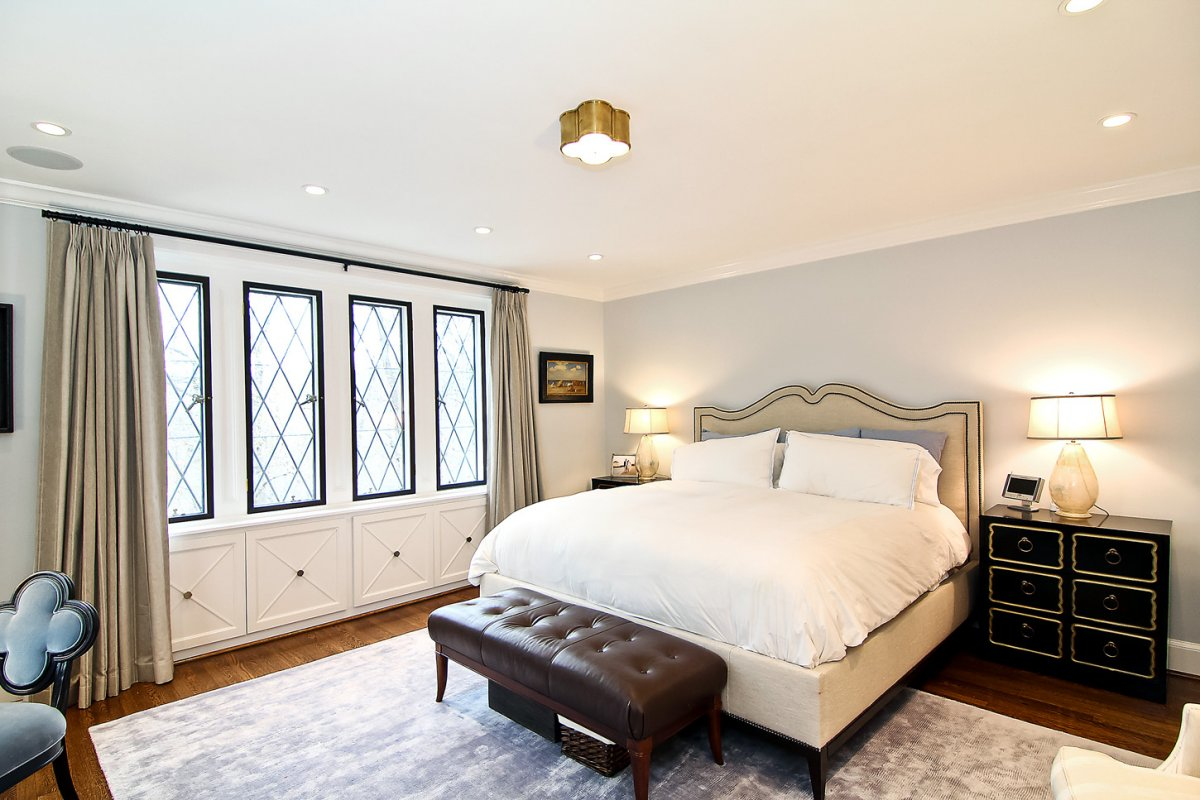 Upstairs, the master suite has an attached sitting area ...