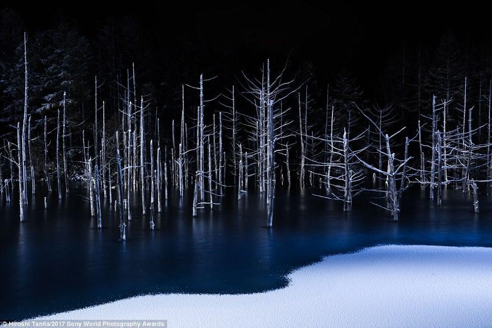 A hauntingly beautiful shot of a partially frozen lake by Hiroshi Tanita called