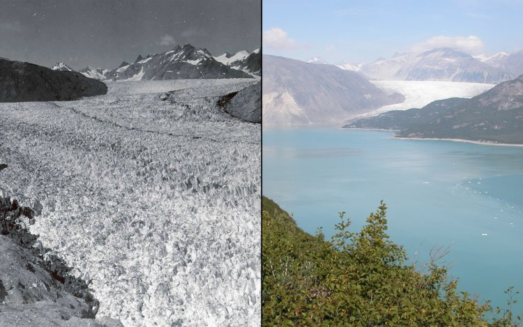 Photographs from the 1940s to the 2000s show the drastic impact of climate change on our planet