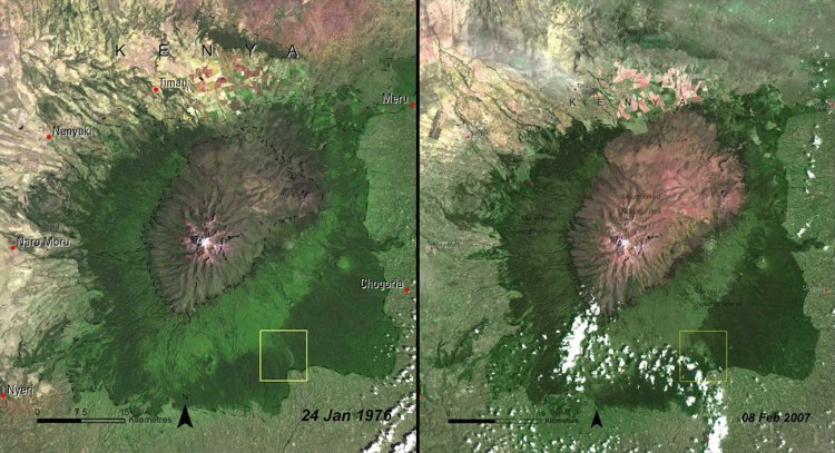 These images show the deforestation of Mount Kenya Forest in Kenya, 1976 (left) vs. 2007 (right).