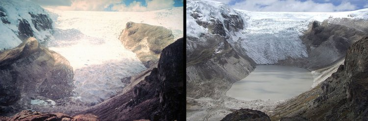 Climate change began to take a more extreme toll on glaciers in the 1970s as well. Here is a photo of Qori Kalis Glacier in Peru in 1978 (left) and again in 2011 (right).
