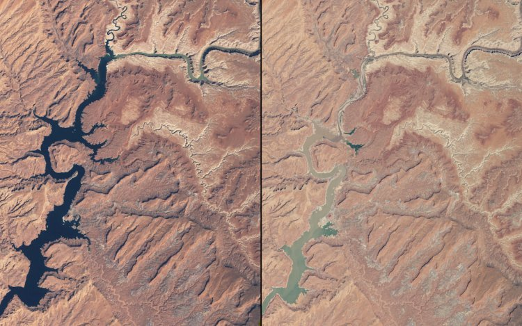 Rivers have been shrinking in Arizona and Utah as well — these images compare them in March 1999 (left) and May 2014 (right).