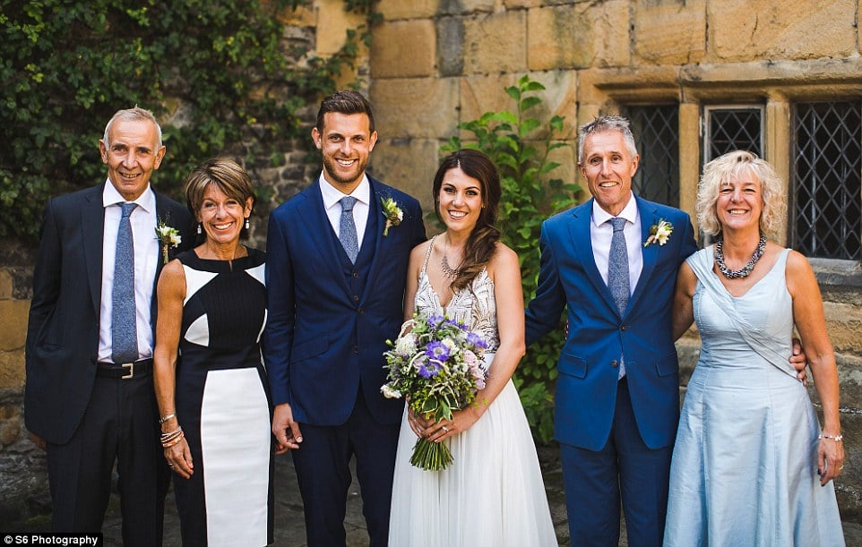 This photograph was taken after the wedding ceremony at Haddon Hall and shows, from left to right: Ed