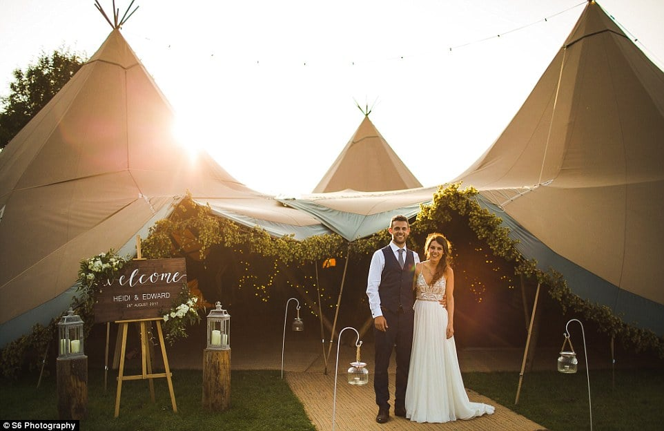 The wedding followed by a reception at grade-II listed Shiningford Farm, where hundreds of guests enjoyed a late-night dance under a tipi(pictured) and a pool party the following day