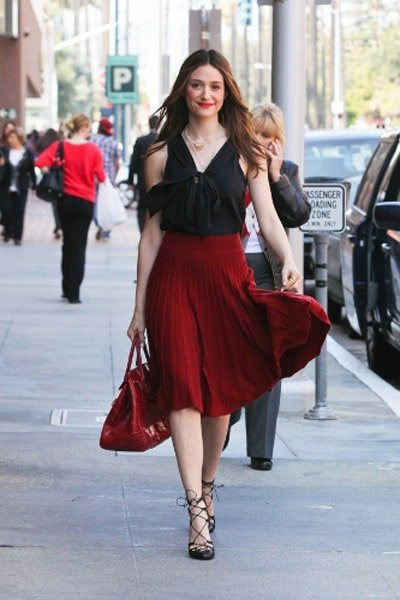 Image result for black dress red heels