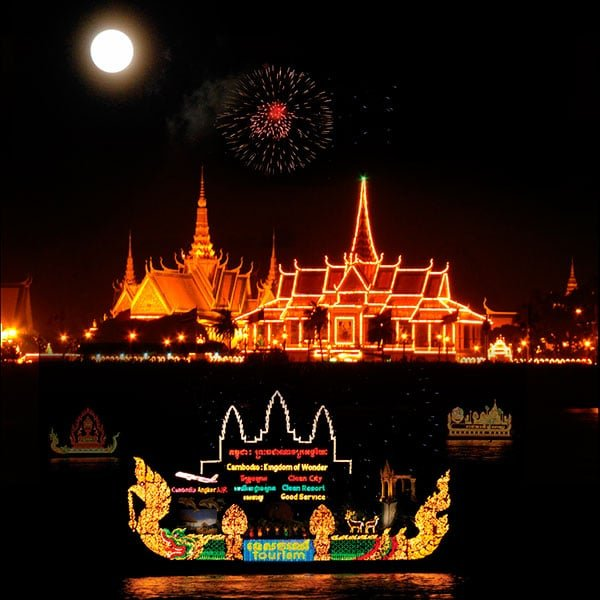 illuminated boats display during Water Festival in Cambodia