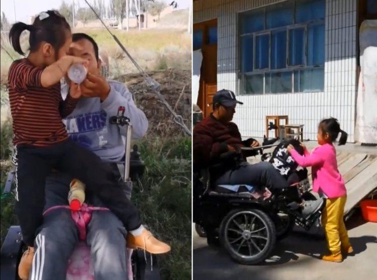 Em bé 6 tuổi chăm sóc cha tàn tật