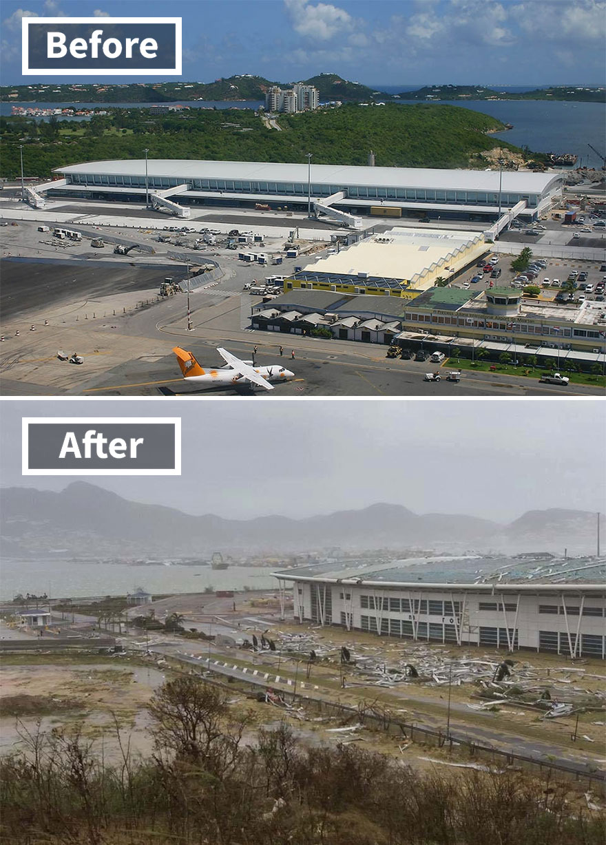 Princess Juliana Airport (Before And After Irma Damage)