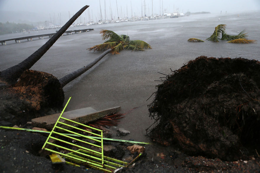 Debris Is Seen During A Storm Surge Near The Puerto Chico Harbor In Fajardo, Puerto Rico