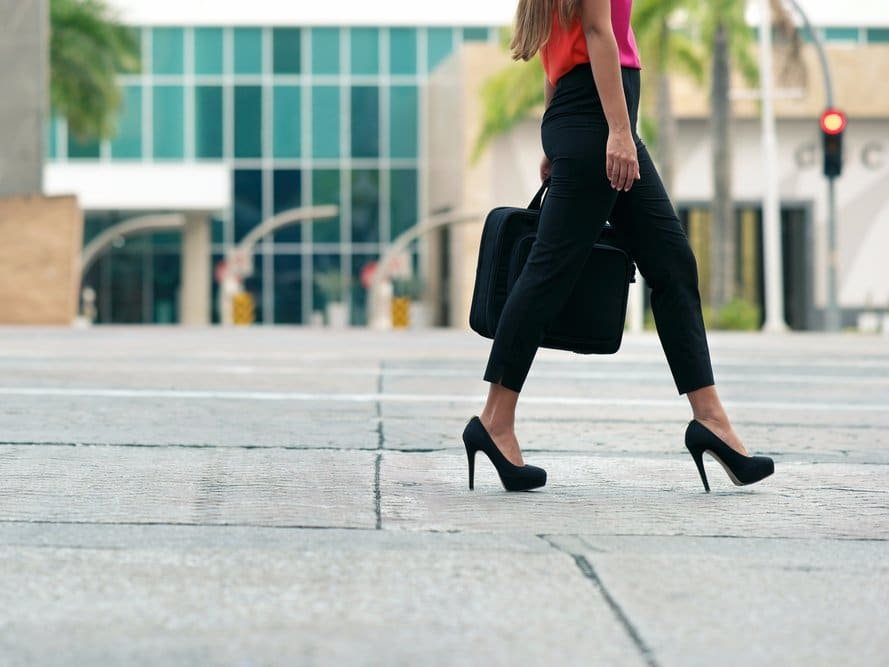 woman walking heels