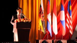 Ngoại trưởng Lào Saleumxay Kommasith phát biểu khai mạc Hội nghị các ngoại trưởng ASEAN lần thứ 49, Vientiane, ngày 24/07/2016