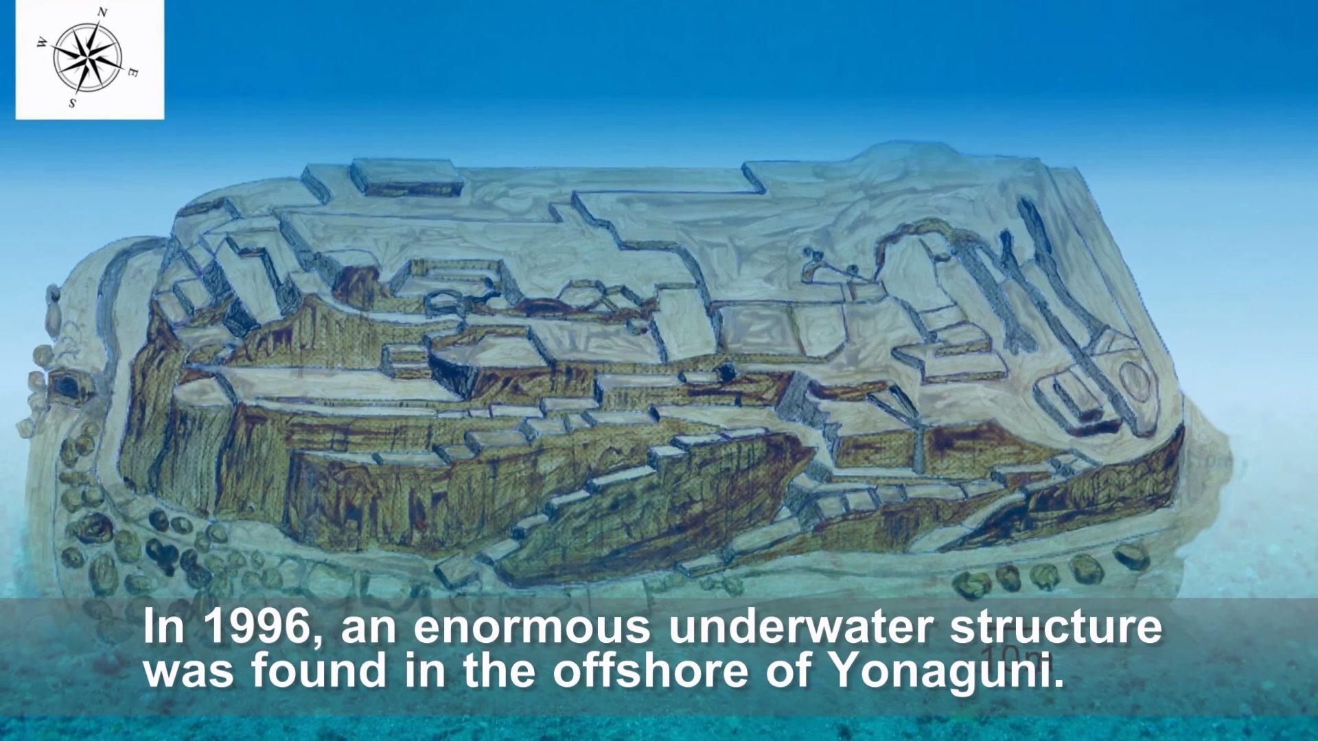 Ảnh mô phỏng lại toàn cảnh 1 công trình nằm trong di tích Yonaguni (ảnh: Youtube)