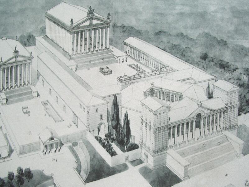 Một bản vẽ concept của họa sĩ về hình ảnh của Baalbek thời La Mã (ảnh: Wiki)