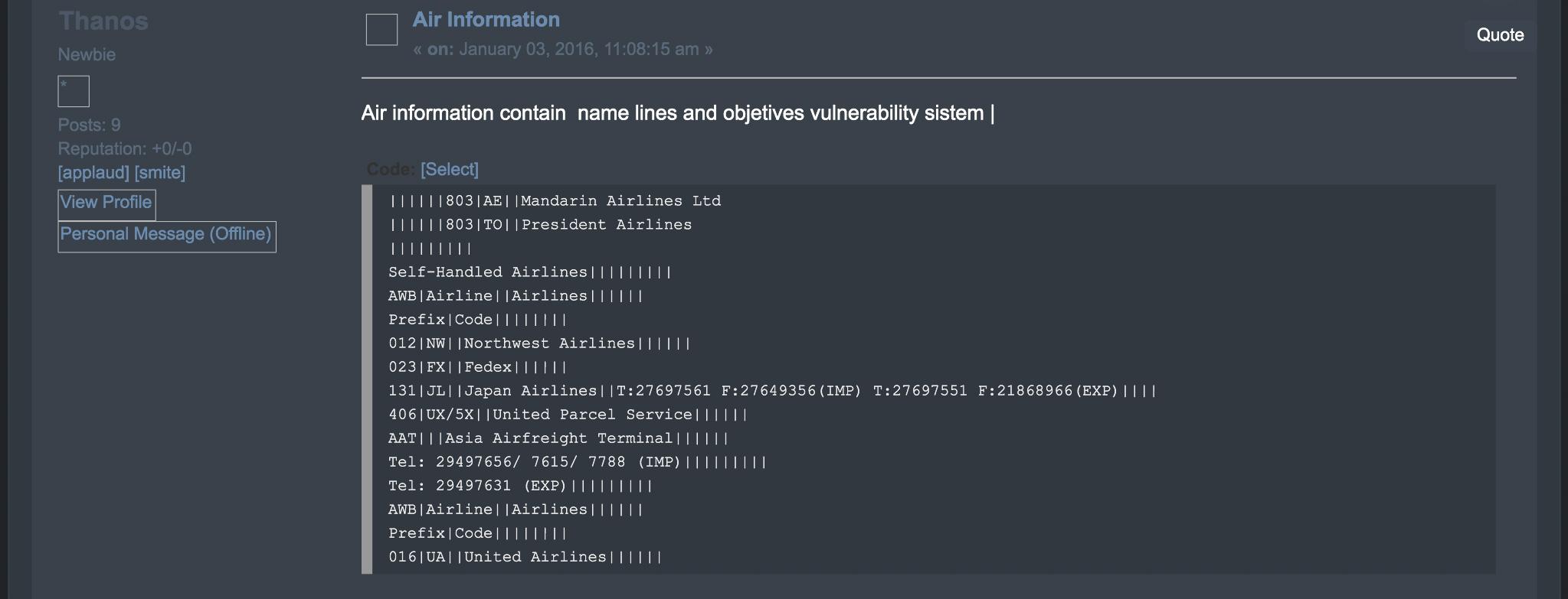 Trong ảnh chụp màn hình này, nhóm tội phạm mạng đăng thông tin quảng cáo các lỗ hổng bảo mật trong hệ thống máy tính của các hãng hàng không lớn trên thị trường chợ đen trực tuyến vào ngày 3/1/2016. (Ảnh: Screenshot courtesy of Ed Alexander)