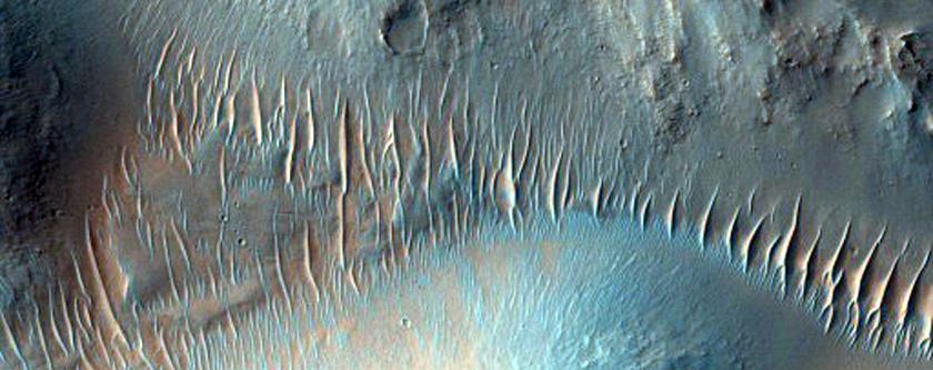 Trầm tích và những vân ngang của 1 nhánh sông ở Nirgal Vallis (Ảnh: NASA/JPL/ĐH Arizona)