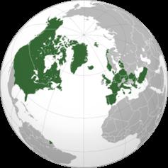 Các nước thuộc khối NATO (màu xanh)