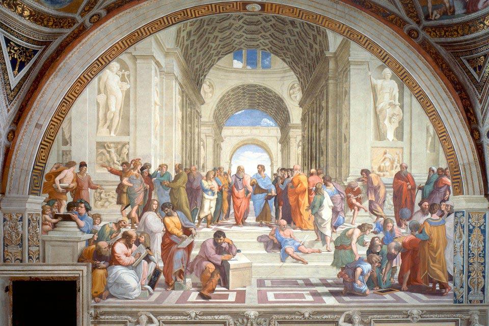 """Bức bích họa """"The School of Athens"""" của Raphael được vẽ vào khoảng từ năm 1509 - 1511"""