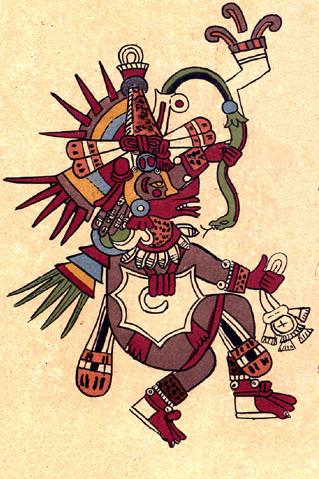 Quetzalcoatl, vị thần đã phân chia ranh giới của đất và trời. Hình vẽ mô tả Quetzalcoatl trong quyển Codex Borbonicus, thế kỉ 16.