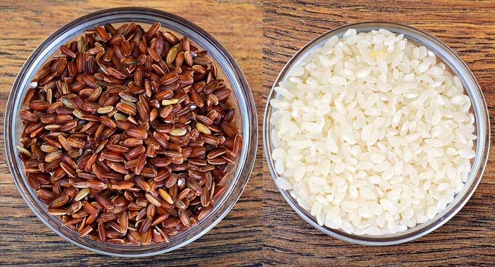 Gạo lức so sánh với gạo trắng