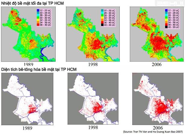 Bản đồ thể hiện diện tích bê-tống hóa bề mặt và nhiệt độ tối đa bề mặt tại TP HCM. (Nguồn: Trần Thị Vân và Hà Lê Dương Bảo 2007)