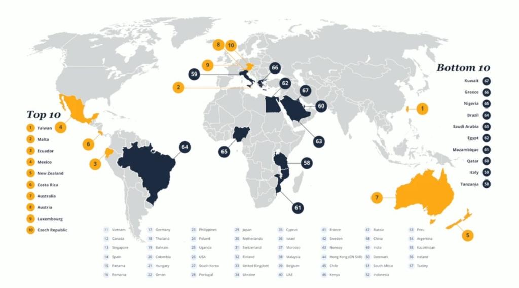 Xếp hạng Expat Insider - mức độ hài lòng về môi trường sống và làm việc của các expat đối với các quốc gia trong năm 2016. (Nguồn: interNations.org)