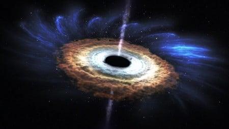 Lỗ đen PGC 043234 sau khi nuốt chửng một ngôi sao, tỏa ra các tia X (xanh dương)