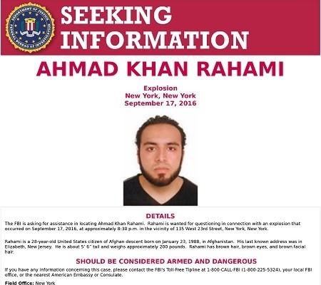 Lệnh truy nã Ahmad Khan Rahami, 28 tuổi; nghi phạm đánh bom New York và New Jersey