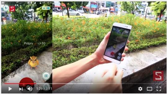 Cảnh bắt một con thú trong Pokemon Go
