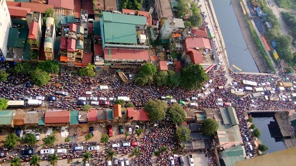Ùn tắc giao thông tại Cầu Tó - Thanh Trì, Hà Nội sáng 20/9/2016. (Ảnh: FB Đào Ngọc Cương)
