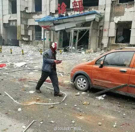 Hiện trường vụ nổ ở Thiểm Tây (Ảnh: internet)