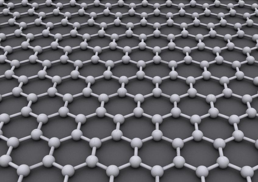 Graphen là một dàn tinh thể hình tổ ong của các nguyên tử cácbon (ảnh: Wiki)