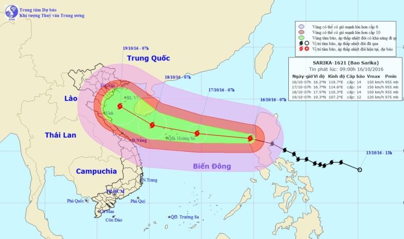 Bản đồ đường đi và dự báo tâm bão số 7 (bão Sakira) trên Biển Đông từ ngày 16 tới 19/10. (Nguồn: nchmf.gov.vn)